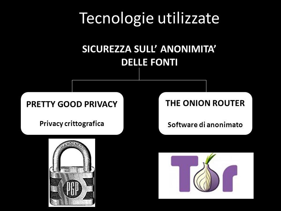 Tecnologie utilizzate SICUREZZA SULL' ANONIMITA' DELLE FONTI PRETTY GOOD PRIVACY Privacy crittografica THE ONION ROUTER Software di anonimato