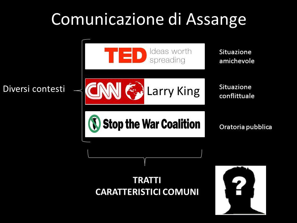 Comunicazione di Assange Larry King Diversi contesti Situazione amichevole Situazione conflittuale Oratoria pubblica TRATTI CARATTERISTICI COMUNI