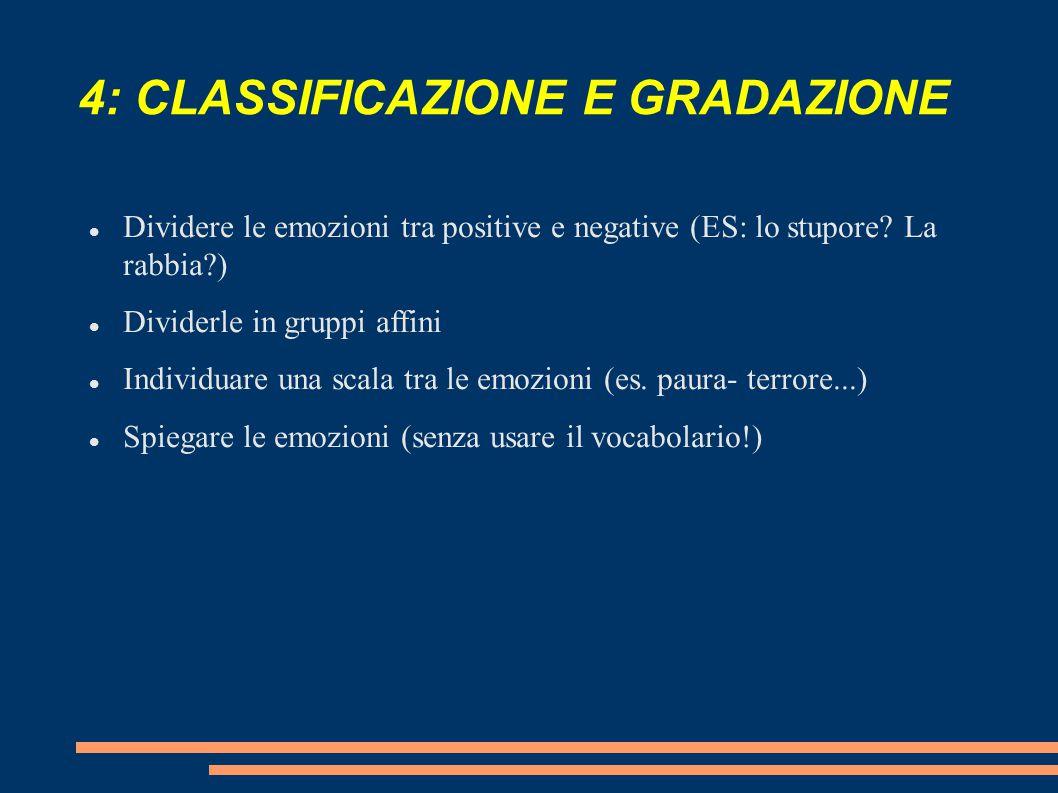 4: CLASSIFICAZIONE E GRADAZIONE Dividere le emozioni tra positive e negative (ES: lo stupore? La rabbia?) Dividerle in gruppi affini Individuare una s