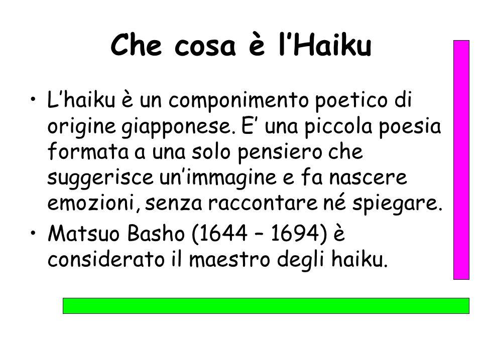 Che cosa è l'Haiku L'haiku è un componimento poetico di origine giapponese. E' una piccola poesia formata a una solo pensiero che suggerisce un'immagi