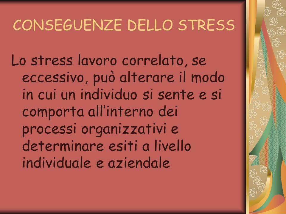 CONSEGUENZE DELLO STRESS Lo stress lavoro correlato, se eccessivo, può alterare il modo in cui un individuo si sente e si comporta all'interno dei processi organizzativi e determinare esiti a livello individuale e aziendale