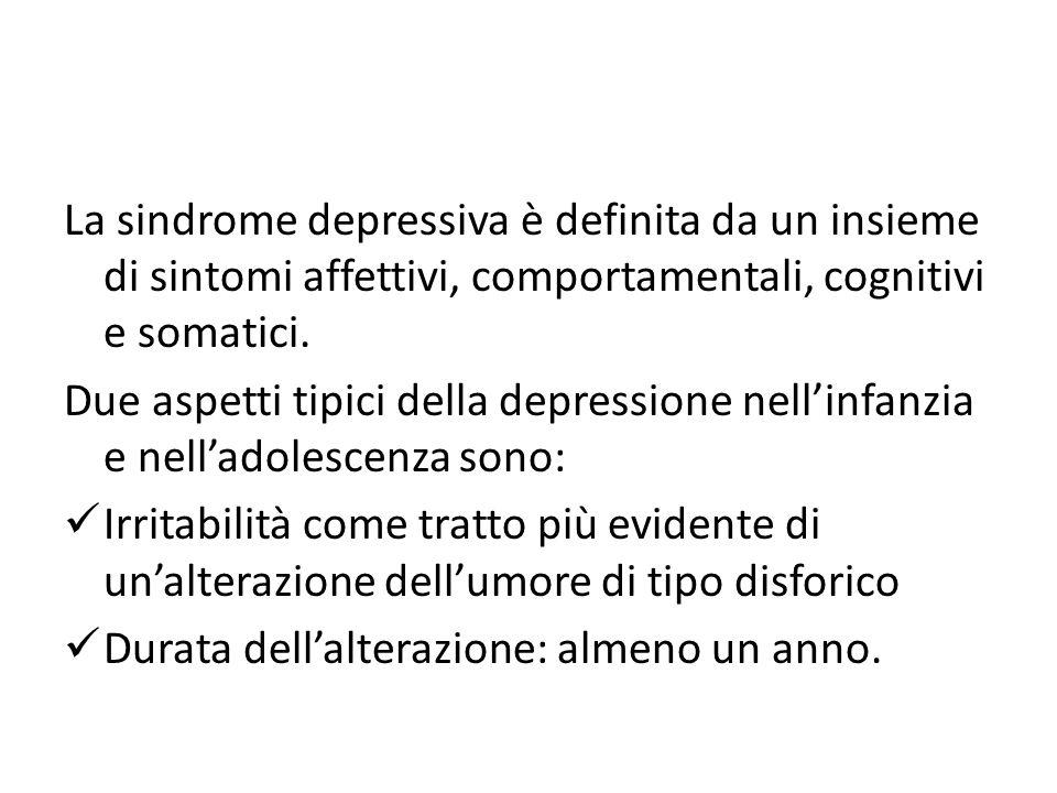 La sindrome depressiva è definita da un insieme di sintomi affettivi, comportamentali, cognitivi e somatici. Due aspetti tipici della depressione nell