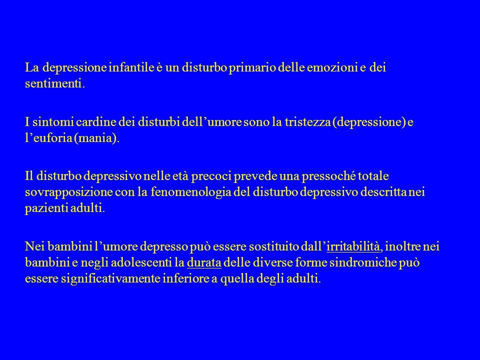 La depressione infantile è un disturbo primario delle emozioni e dei sentimenti. I sintomi cardine dei disturbi dell'umore sono la tristezza (depressi