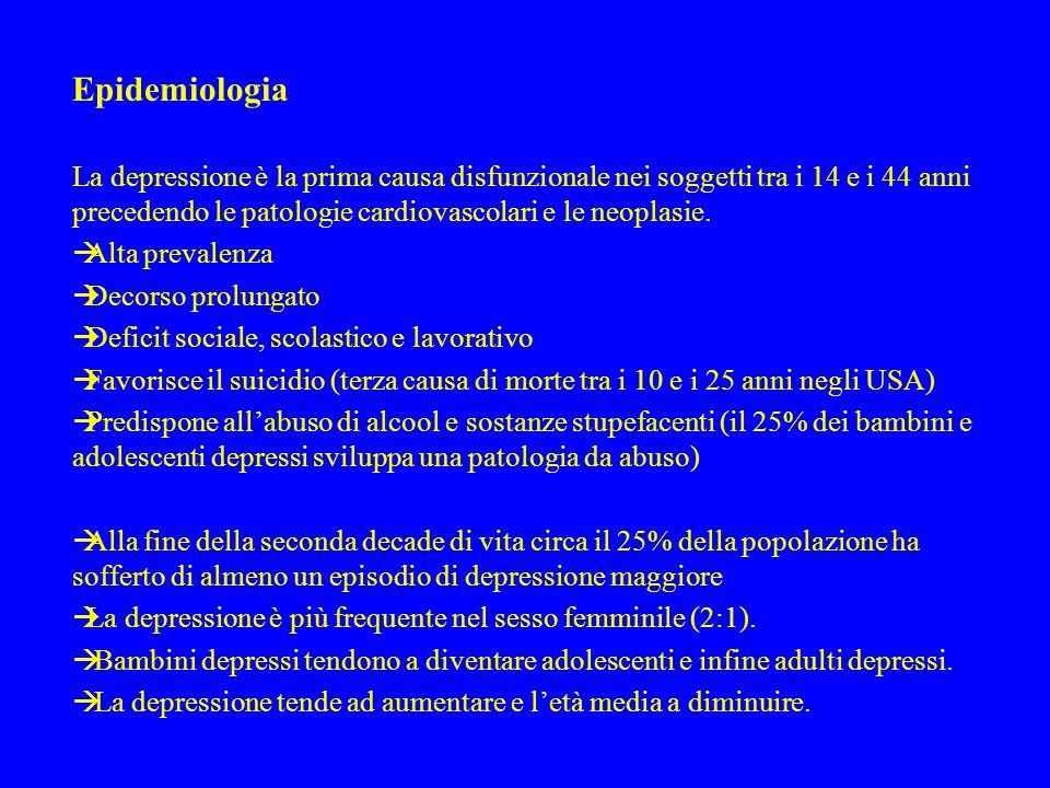 Evoluzione Il disturbo depressivo maggiore in età evolutiva presenta percentuali differenti nelle diverse età:  Età prescolare 0,3% disturbo distimico 1%  Età scolare 2-3%  Età adolescenziale 6-8%disturbo distimico 8% L'esordio precoce di una patologia depressiva rappresenta un fattore di rischio per la comparsa di una patologia bipolare in adolescenza.