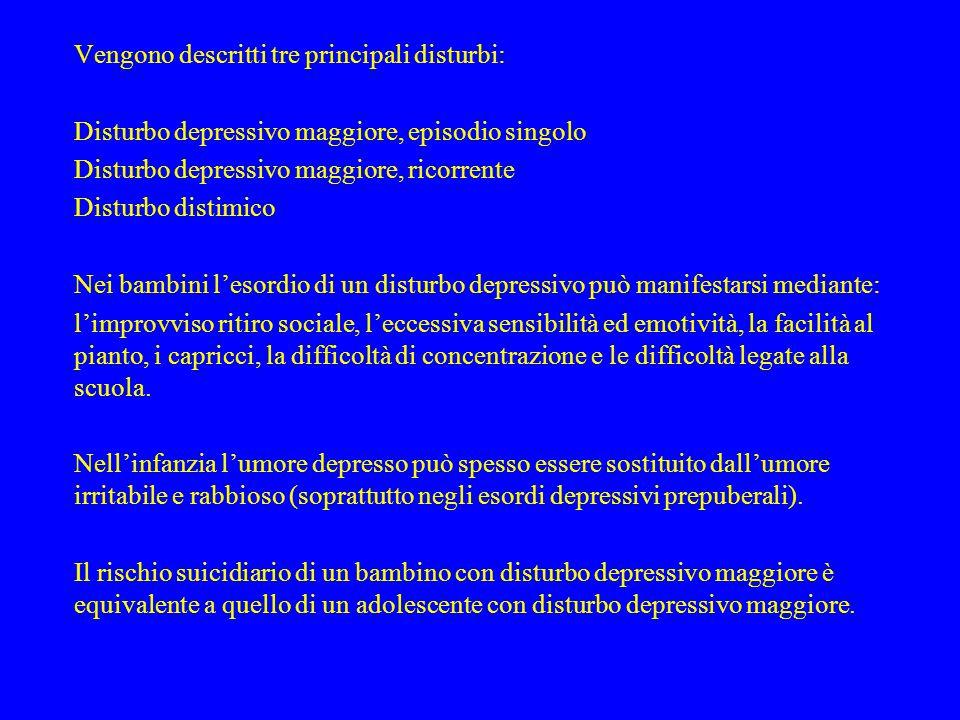 Vengono descritti tre principali disturbi: Disturbo depressivo maggiore, episodio singolo Disturbo depressivo maggiore, ricorrente Disturbo distimico