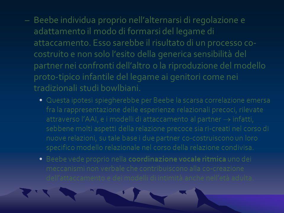 –Beebe individua proprio nell'alternarsi di regolazione e adattamento il modo di formarsi del legame di attaccamento. Esso sarebbe il risultato di un