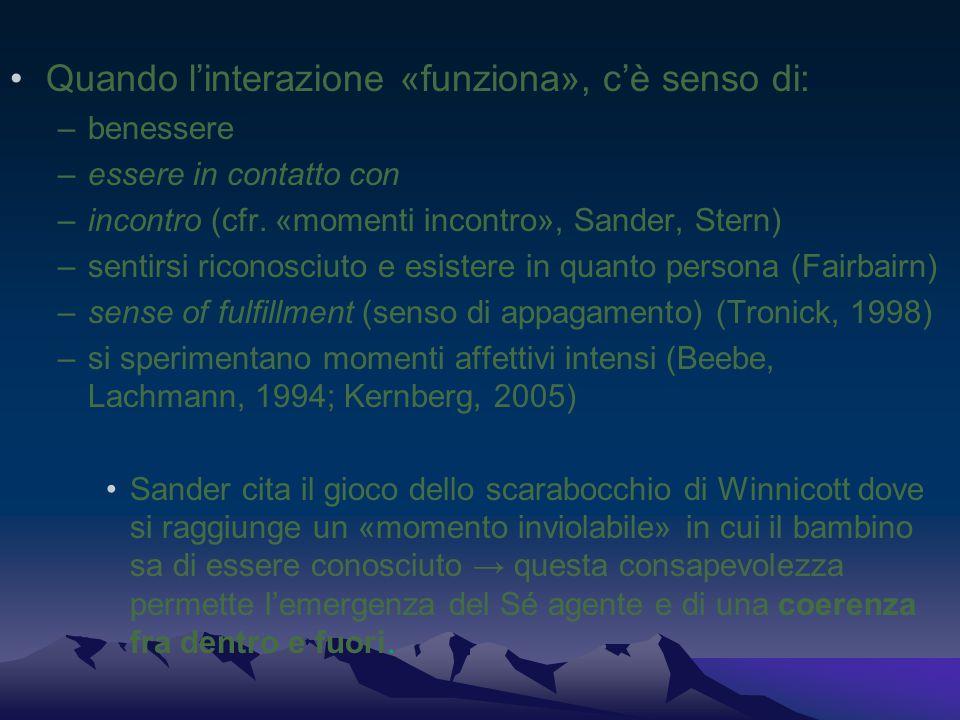 Quando l'interazione «funziona», c'è senso di: –benessere –essere in contatto con –incontro (cfr. «momenti incontro», Sander, Stern) –sentirsi riconos