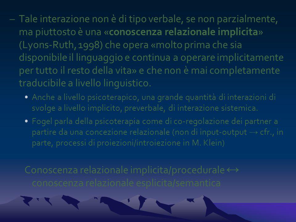 –Tale interazione non è di tipo verbale, se non parzialmente, ma piuttosto è una «conoscenza relazionale implicita» (Lyons-Ruth, 1998) che opera «molt