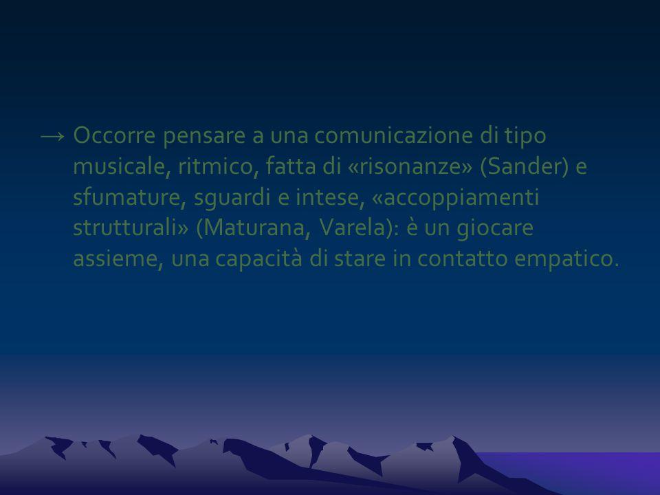 → Occorre pensare a una comunicazione di tipo musicale, ritmico, fatta di «risonanze» (Sander) e sfumature, sguardi e intese, «accoppiamenti struttura