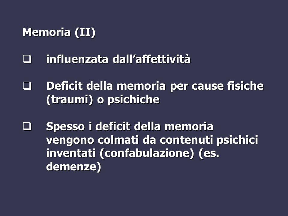 Memoria (II)  influenzata dall'affettività  Deficit della memoria per cause fisiche (traumi) o psichiche  Spesso i deficit della memoria vengono co