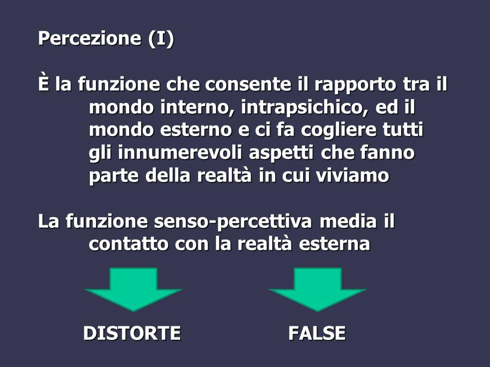Percezione (II) Distorsione delle percezioni - Quantitative (iper/ipo-estesie, iper/ipo- acusie) - Qualitative (soprattutto visive, in seguito alla assunzione di sostanze tossiche) - Forma [=dismegalopsie] (micropsia, macropsia) - Tempo (percezione personale del trascorrere del tempo, aumentata/ridotta)