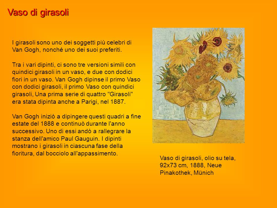 Vaso di girasoli Vaso di girasoli, olio su tela, 92x73 cm, 1888, Neue Pinakothek, Münich I girasoli sono uno dei soggetti più celebri di Van Gogh, non
