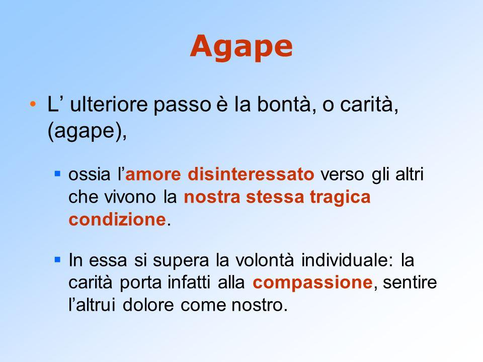 Agape L' ulteriore passo è la bontà, o carità, (agape),  ossia l'amore disinteressato verso gli altri che vivono la nostra stessa tragica condizione.