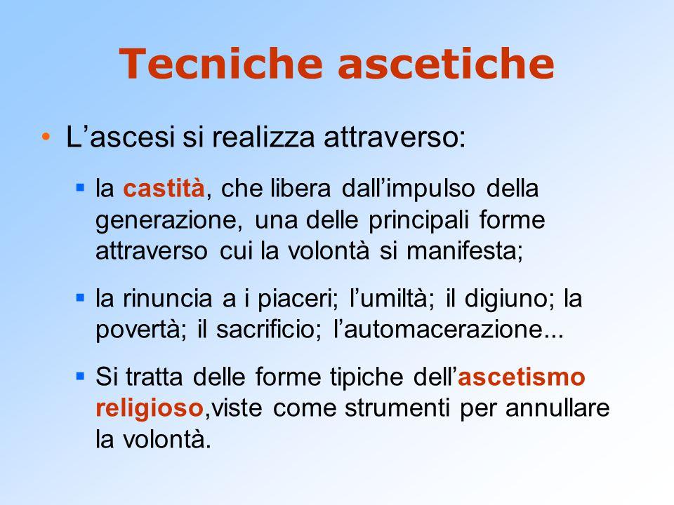 Tecniche ascetiche L'ascesi si realizza attraverso:  la castità, che libera dall'impulso della generazione, una delle principali forme attraverso cui