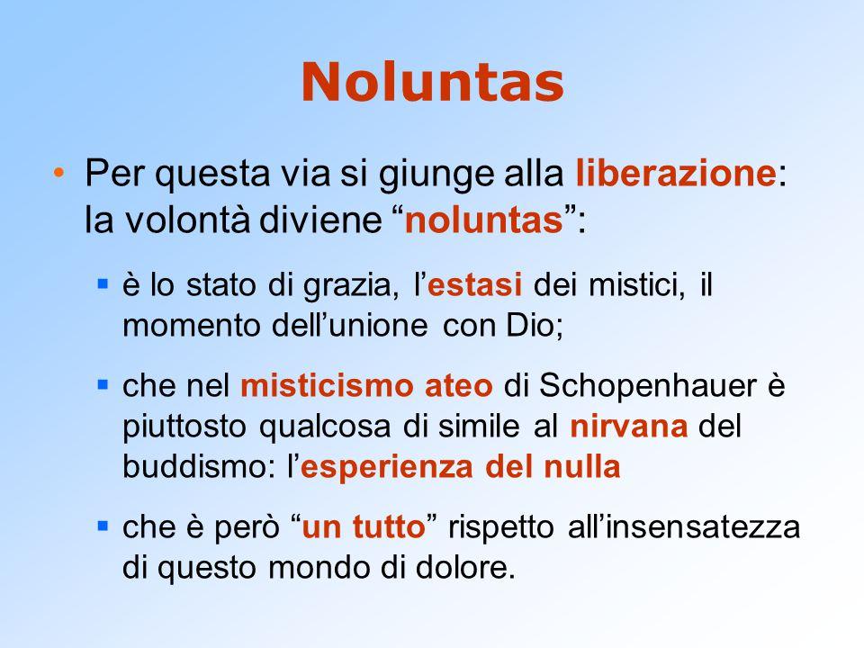 """Noluntas Per questa via si giunge alla liberazione: la volontà diviene """"noluntas"""":  è lo stato di grazia, l'estasi dei mistici, il momento dell'union"""