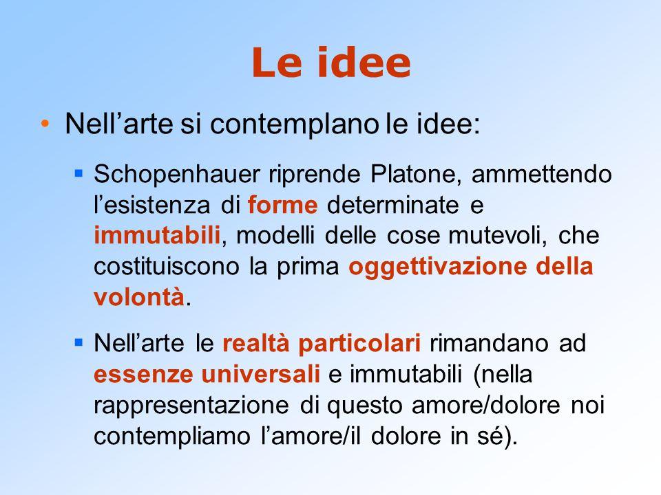 Le idee Nell'arte si contemplano le idee:  Schopenhauer riprende Platone, ammettendo l'esistenza di forme determinate e immutabili, modelli delle cose mutevoli, che costituiscono la prima oggettivazione della volontà.