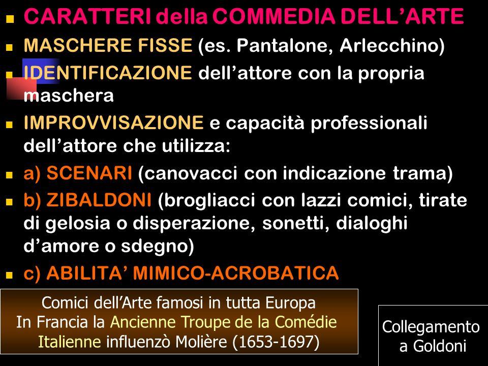 CARATTERI della COMMEDIA DELL'ARTE MASCHERE FISSE (es.
