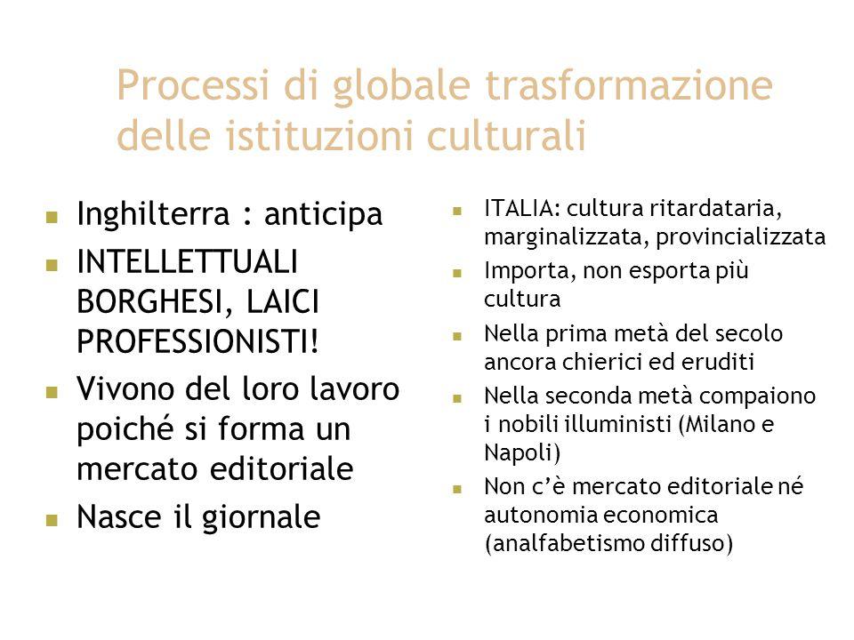Processi di globale trasformazione delle istituzioni culturali Inghilterra : anticipa INTELLETTUALI BORGHESI, LAICI PROFESSIONISTI.