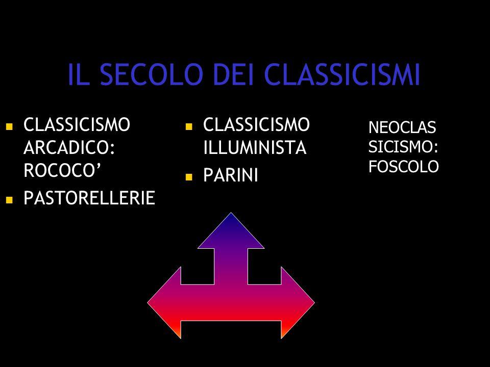 IL SECOLO DEI CLASSICISMI CLASSICISMO ARCADICO: ROCOCO' PASTORELLERIE CLASSICISMO ILLUMINISTA PARINI NEOCLAS SICISMO: FOSCOLO