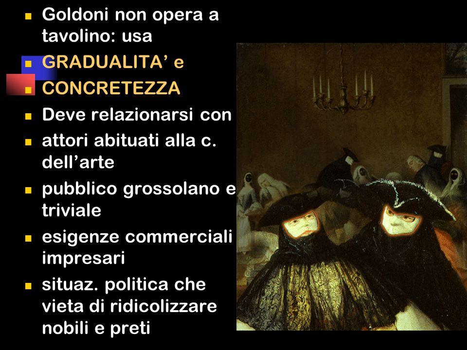 Goldoni non opera a tavolino: usa GRADUALITA' e CONCRETEZZA Deve relazionarsi con attori abituati alla c.