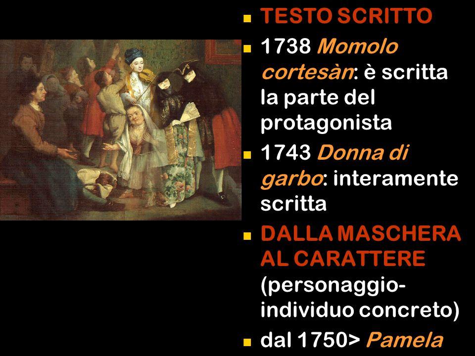 TESTO SCRITTO 1738 Momolo cortesàn: è scritta la parte del protagonista 1743 Donna di garbo: interamente scritta DALLA MASCHERA AL CARATTERE (personaggio- individuo concreto) dal 1750> Pamela nubile