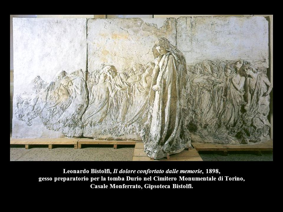 Leonardo Bistolfi, Il dolore confortato dalle memorie, 1898, gesso preparatorio per la tomba Durio nel Cimitero Monumentale di Torino, Casale Monferra