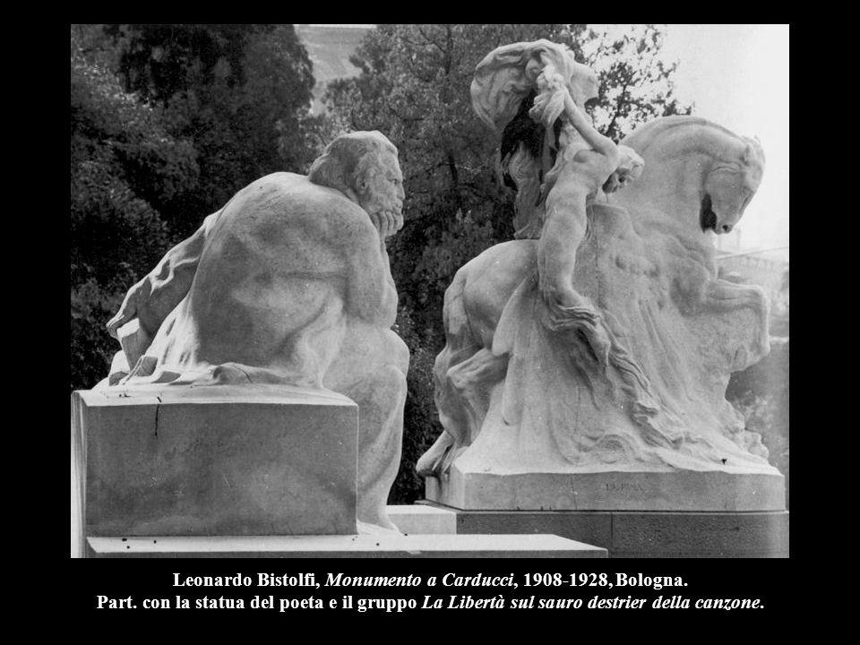 Leonardo Bistolfi, Monumento a Carducci, 1908-1928, Bologna. Part. con la statua del poeta e il gruppo La Libertà sul sauro destrier della canzone.