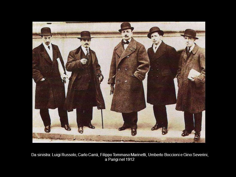 Da sinistra: Luigi Russolo, Carlo Carrà, Filippo Tommaso Marinetti, Umberto Boccioni e Gino Severini, a Parigi nel 1912