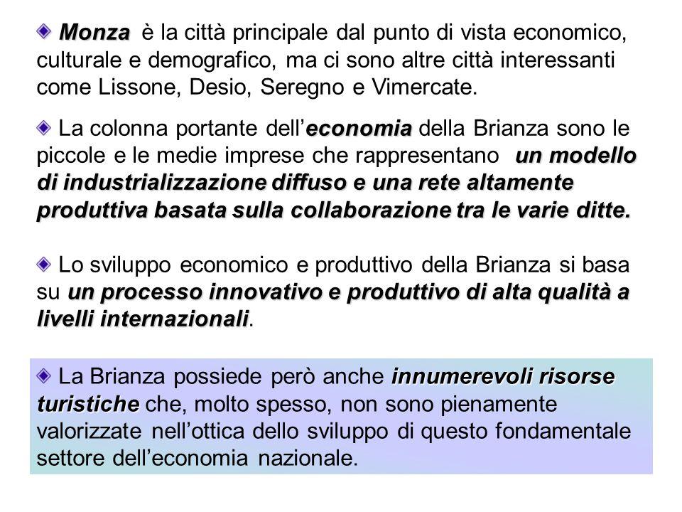 Monza Monza è la città principale dal punto di vista economico, culturale e demografico, ma ci sono altre città interessanti come Lissone, Desio, Sere