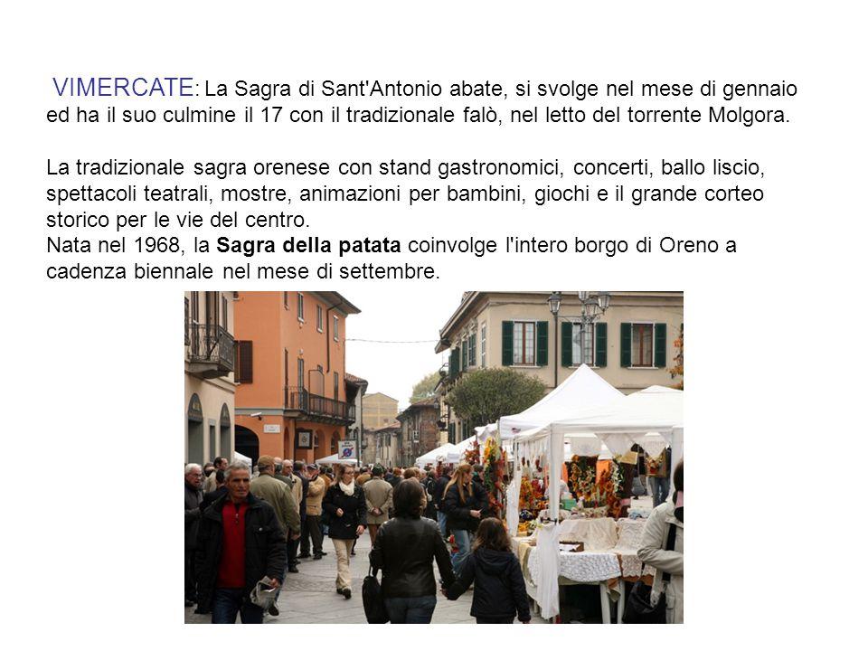 VIMERCATE : La Sagra di Sant'Antonio abate, si svolge nel mese di gennaio ed ha il suo culmine il 17 con il tradizionale falò, nel letto del torrente