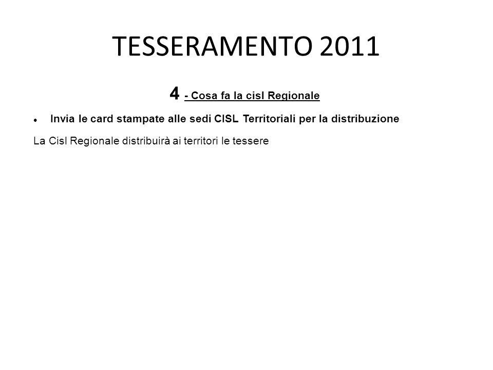 TESSERAMENTO 2011 4 - Cosa fa la cisl Regionale Invia le card stampate alle sedi CISL Territoriali per la distribuzione La Cisl Regionale distribuirà ai territori le tessere