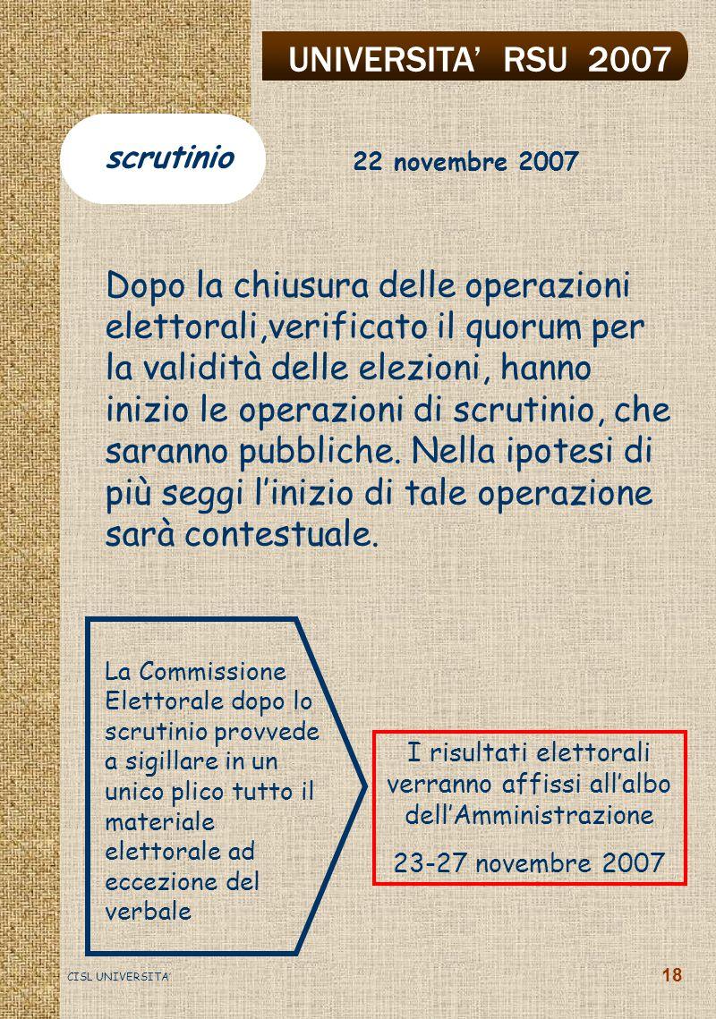 UNIVERSITA' RSU 2007 CISL UNIVERSITA' 18 Dopo la chiusura delle operazioni elettorali,verificato il quorum per la validità delle elezioni, hanno inizio le operazioni di scrutinio, che saranno pubbliche.