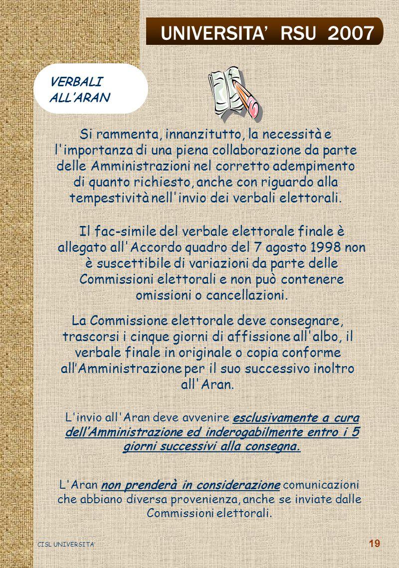 UNIVERSITA' RSU 2007 CISL UNIVERSITA' 19 L Aran non prenderà in considerazione comunicazioni che abbiano diversa provenienza, anche se inviate dalle Commissioni elettorali.