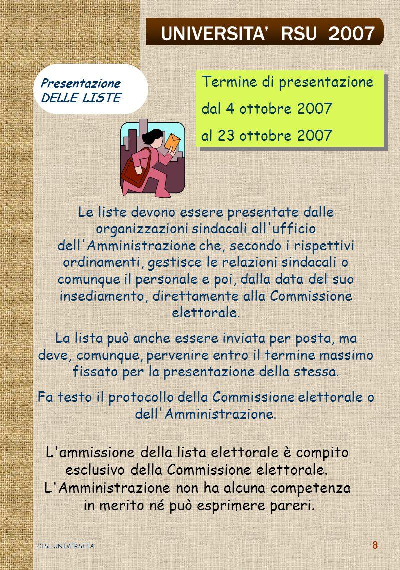 UNIVERSITA' RSU 2007 CISL UNIVERSITA' 9 le associazioni sindacali al momento della presentazione delle liste designano almeno un componente della Commissione tra i dipendenti in servizio I componenti della Commissione non possono essere candidati.
