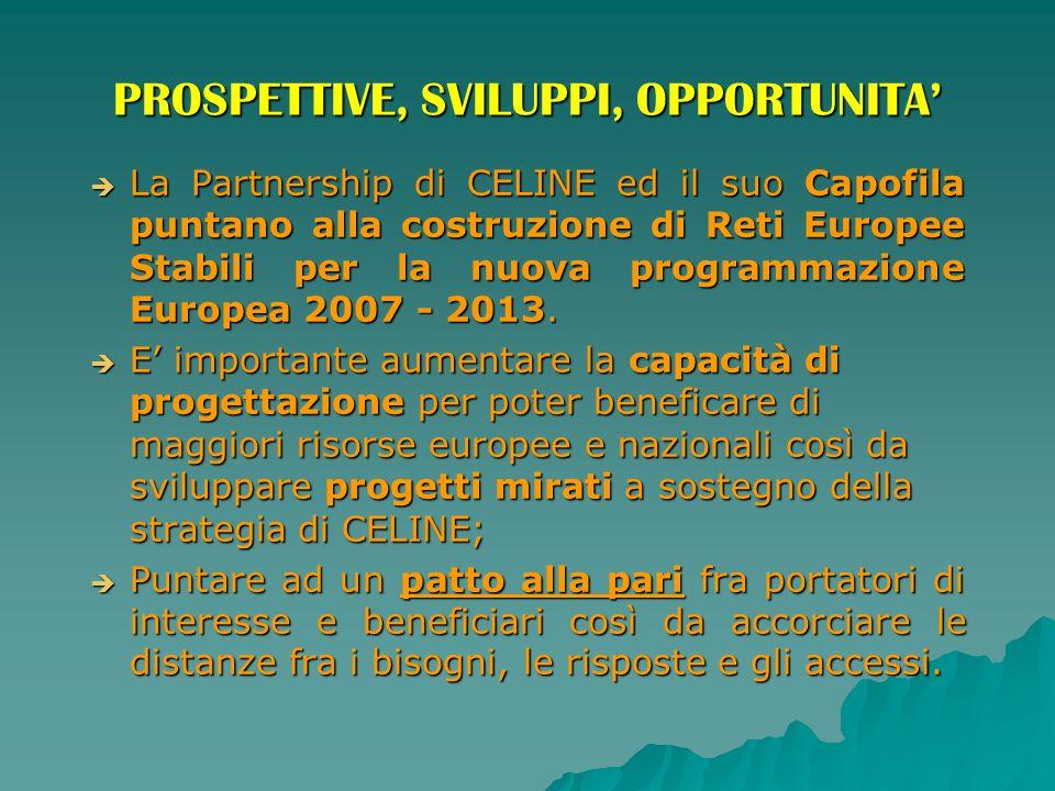 PROSPETTIVE, SVILUPPI, OPPORTUNITA'  La Partnership di CELINE ed il suo Capofila puntano alla costruzione di Reti Europee Stabili per la nuova progra