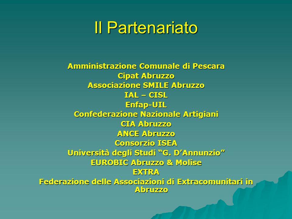 Il Partenariato Amministrazione Comunale di Pescara Cipat Abruzzo Associazione SMILE Abruzzo IAL – CISL Enfap-UIL Confederazione Nazionale Artigiani CIA Abruzzo ANCE Abruzzo Consorzio ISEA Università degli Studi G.
