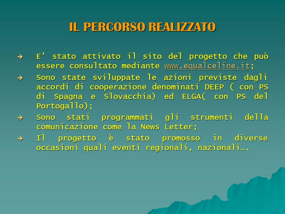 IL PERCORSO REALIZZATO  E' stato attivato il sito del progetto che può essere consultato mediante www.equalceline.it; www.equalceline.it  Sono state