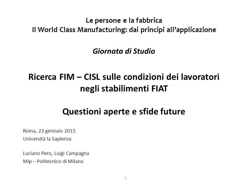Le persone e la fabbrica Il World Class Manufacturing: dai principi all'applicazione Giornata di Studio Ricerca FIM – CISL sulle condizioni dei lavora