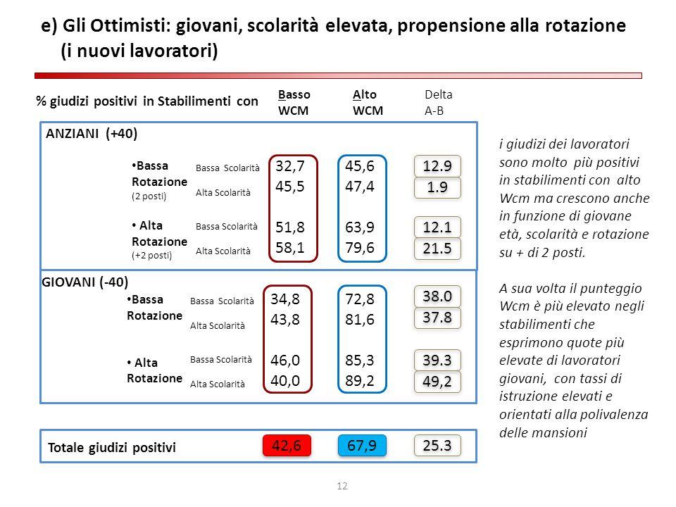 12 e) Gli Ottimisti: giovani, scolarità elevata, propensione alla rotazione (i nuovi lavoratori) ANZIANI (+40) Bassa Rotazione (2 posti) Alta Rotazion