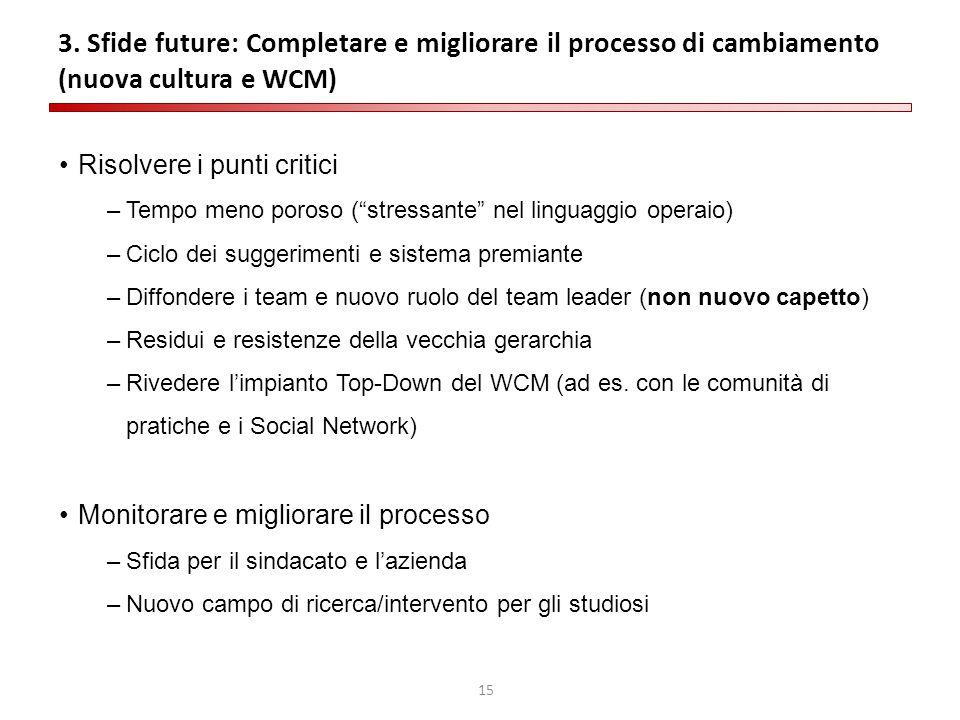 """15 3. Sfide future: Completare e migliorare il processo di cambiamento (nuova cultura e WCM) Risolvere i punti critici –Tempo meno poroso (""""stressante"""