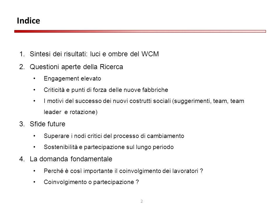 2 Indice 1.Sintesi dei risultati: luci e ombre del WCM 2.Questioni aperte della Ricerca Engagement elevato Criticità e punti di forza delle nuove fabb