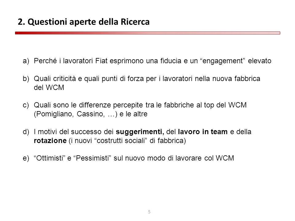 """5 2. Questioni aperte della Ricerca a)Perché i lavoratori Fiat esprimono una fiducia e un """"engagement"""" elevato b)Quali criticità e quali punti di forz"""