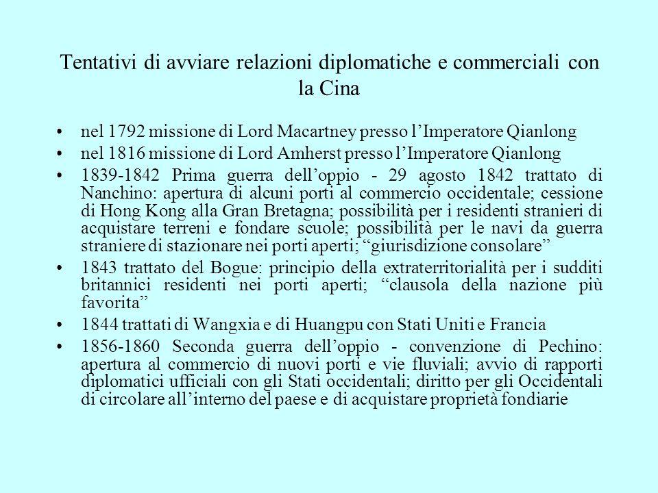 nel 1792 missione di Lord Macartney presso l'Imperatore Qianlong nel 1816 missione di Lord Amherst presso l'Imperatore Qianlong 1839-1842 Prima guerra