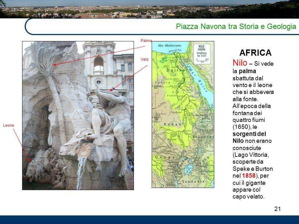 21 Piazza Navona tra Storia e Geologia AFRICA Nilo – Si vede la palma sbattuta dal vento e il leone che si abbevera alla fonte.