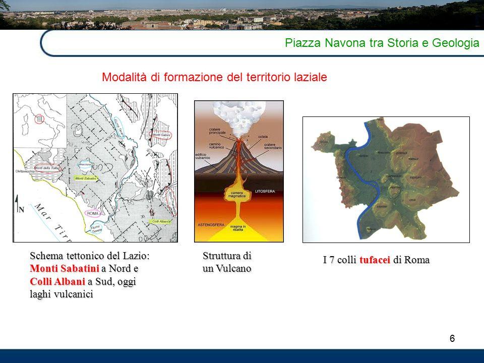 6 Piazza Navona tra Storia e Geologia I 7 colli tufacei di Roma Schema tettonico del Lazio: Monti Sabatini a Nord e Colli Albani a Sud, oggi laghi vulcanici Modalità di formazione del territorio laziale Struttura di un Vulcano