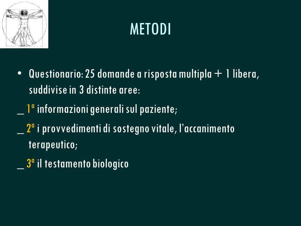 CSeRMEG METODI Questionario: 25 domande a risposta multipla + 1 libera, suddivise in 3 distinte aree: _ 1ª informazioni generali sul paziente; _ 2ª i provvedimenti di sostegno vitale, l'accanimento terapeutico; _ 3ª il testamento biologico