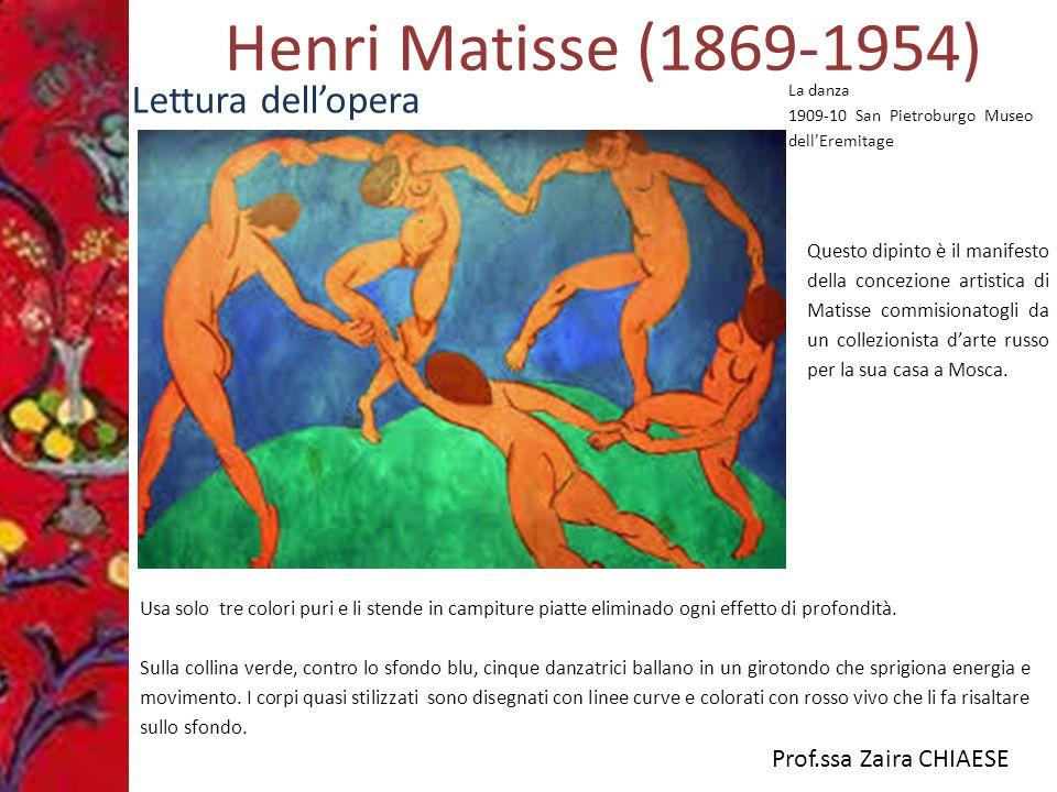 Prof.ssa Zaira CHIAESE Henri Matisse (1869-1954) Lettura dell'opera Usa solo tre colori puri e li stende in campiture piatte eliminado ogni effetto di