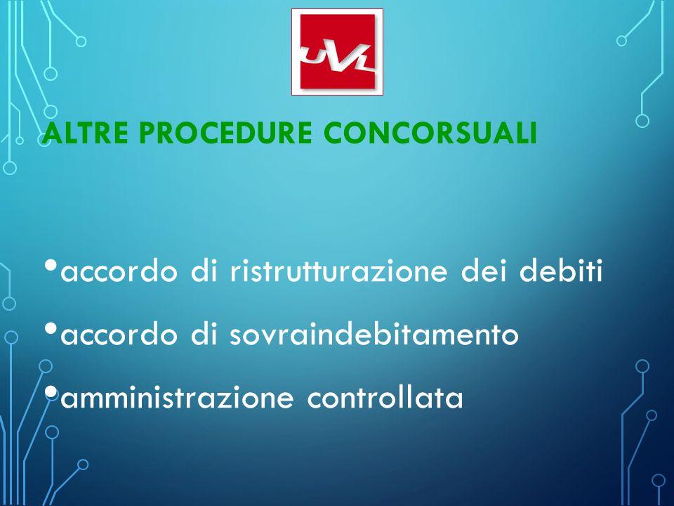 ALTRE PROCEDURE CONCORSUALI accordo di ristrutturazione dei debiti accordo di sovraindebitamento amministrazione controllata