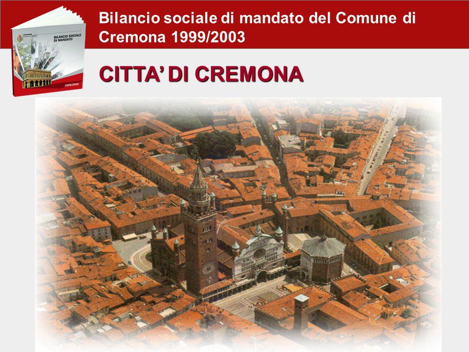 Bilancio sociale di mandato del Comune di Cremona 1999/2003 CITTA' DI CREMONA