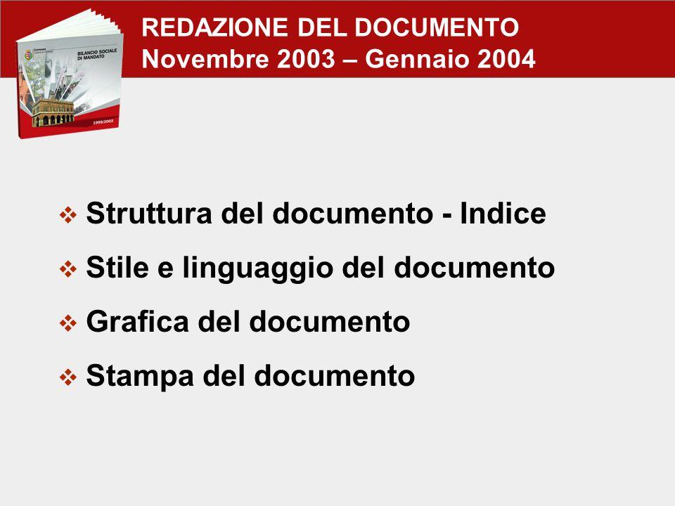 REDAZIONE DEL DOCUMENTO Novembre 2003 – Gennaio 2004  Struttura del documento - Indice  Stile e linguaggio del documento  Grafica del documento  Stampa del documento